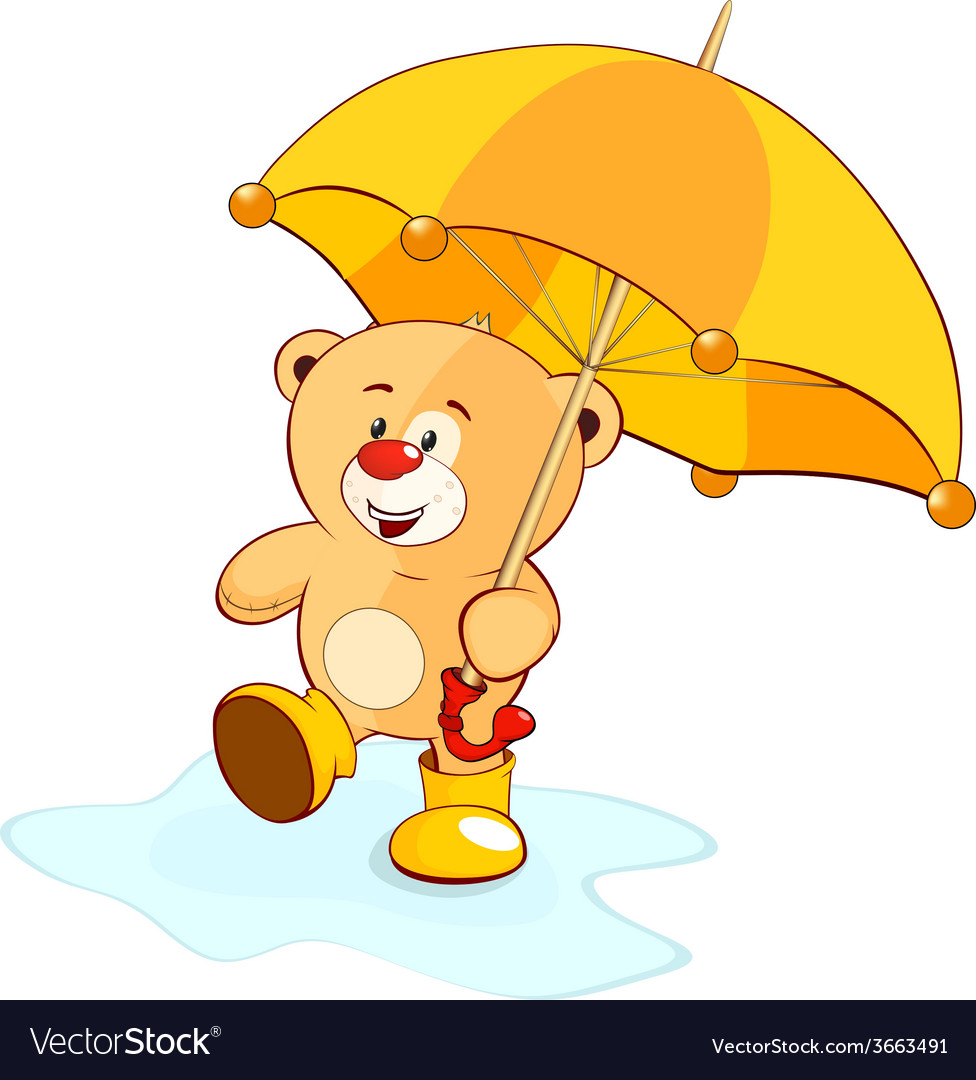 A bear cub and an umbrella vector | Price: 1 Credit (USD $1)
