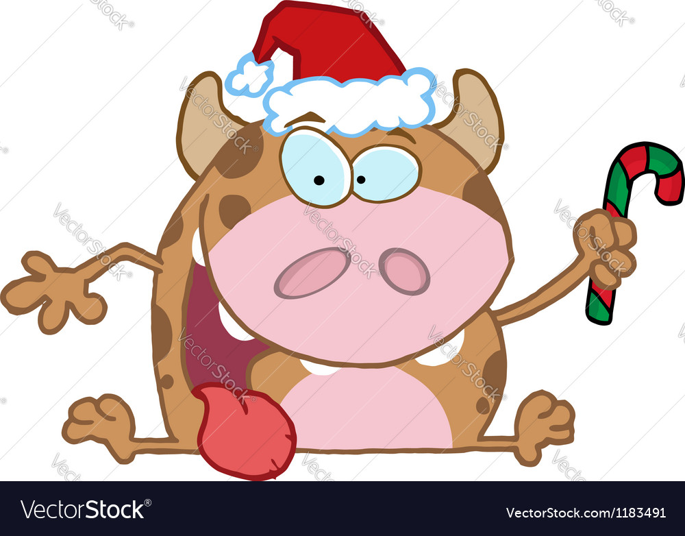 Christmas calf cartoon character vector | Price: 3 Credit (USD $3)