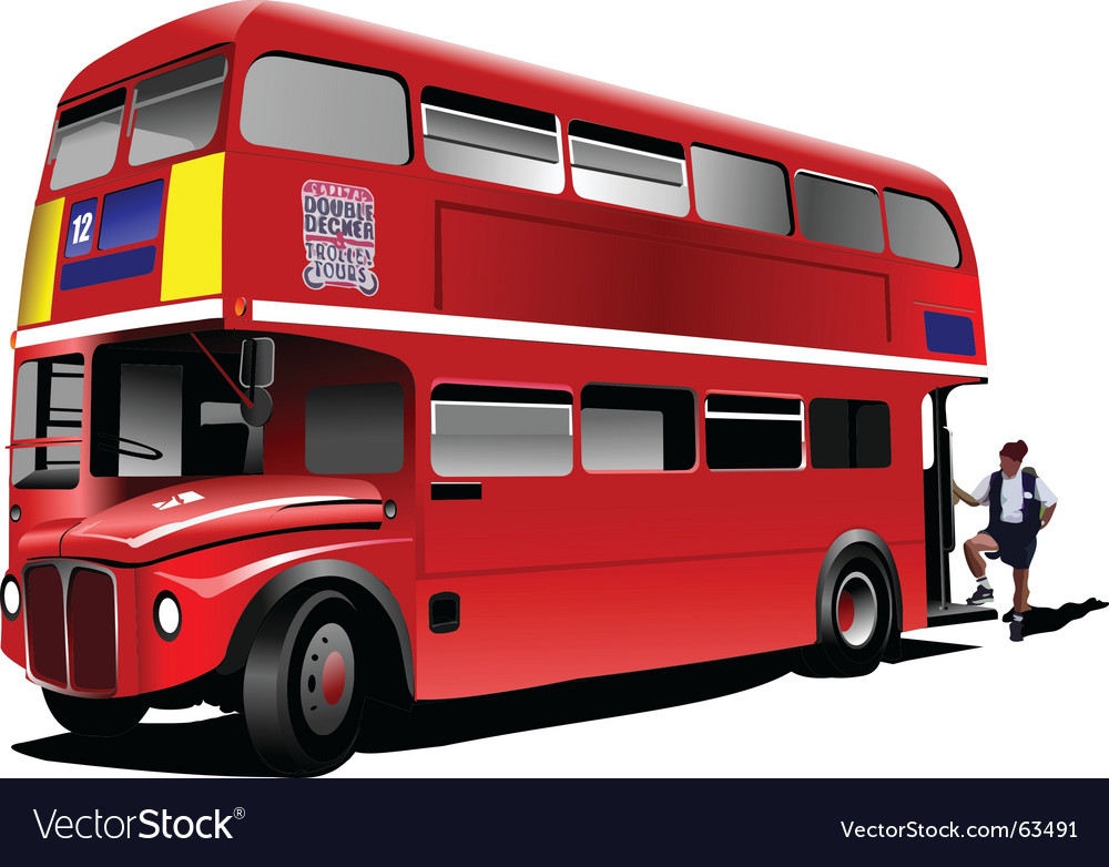 Double decker bus vector | Price: 1 Credit (USD $1)