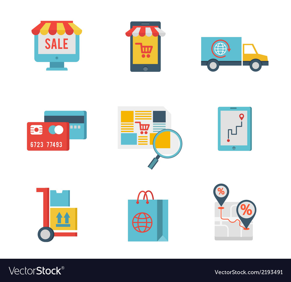 E-commerce symbols and internet shopping elements vector | Price: 1 Credit (USD $1)