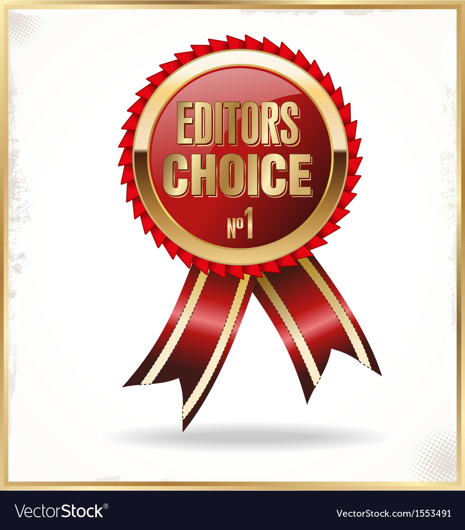 Editors choice red label with ribbons vector | Price: 1 Credit (USD $1)