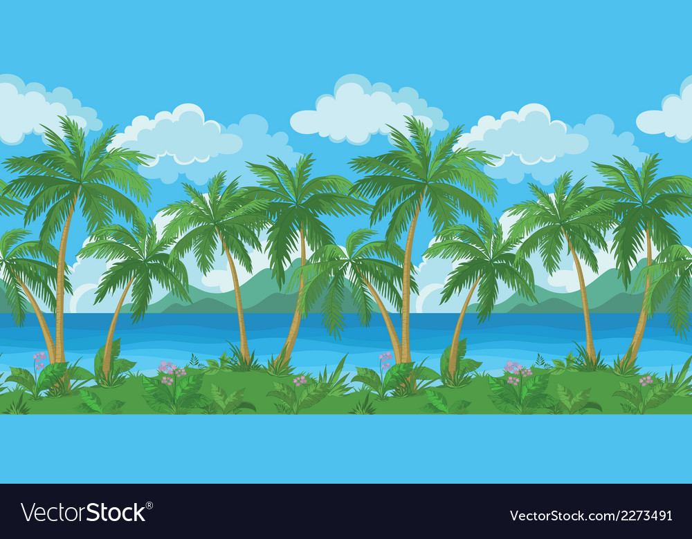 Exotic seamless tropical sea landscape vector | Price: 1 Credit (USD $1)