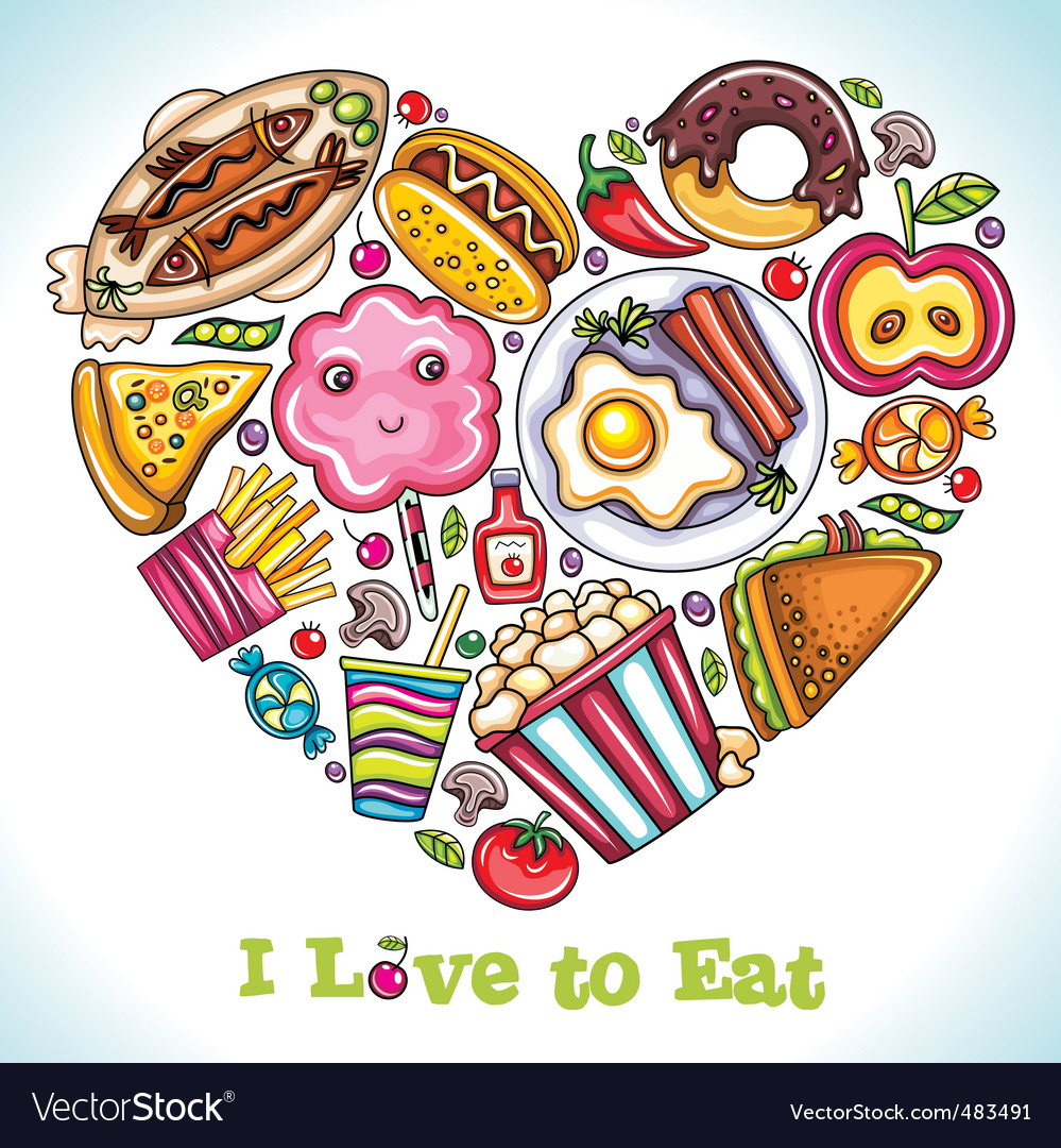 I love to eat vector | Price: 3 Credit (USD $3)