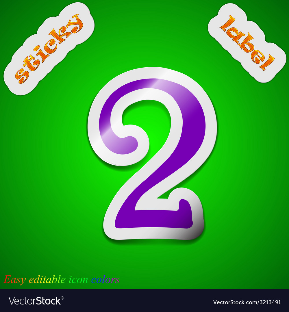 Number two icon sign symbol chic colored sticky vector | Price: 1 Credit (USD $1)