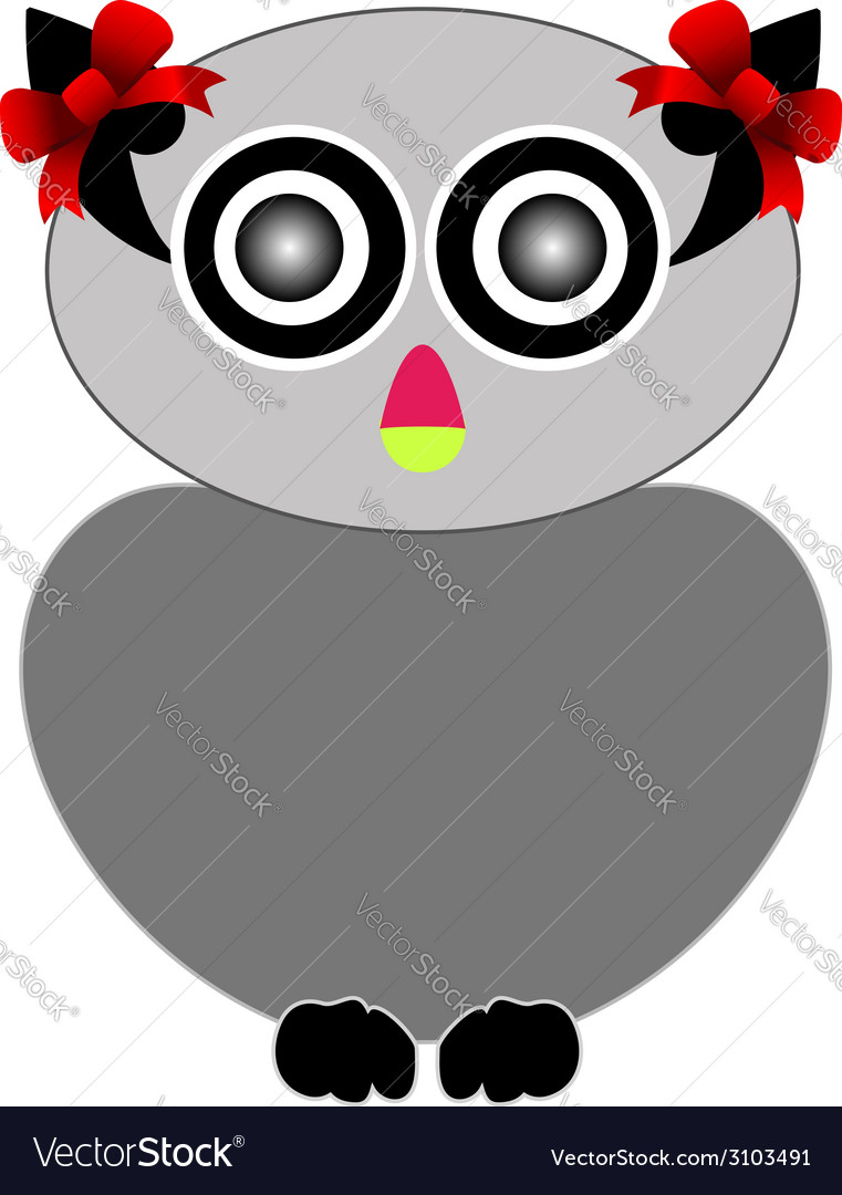 Owl with red bow- bird of prey vector | Price: 1 Credit (USD $1)