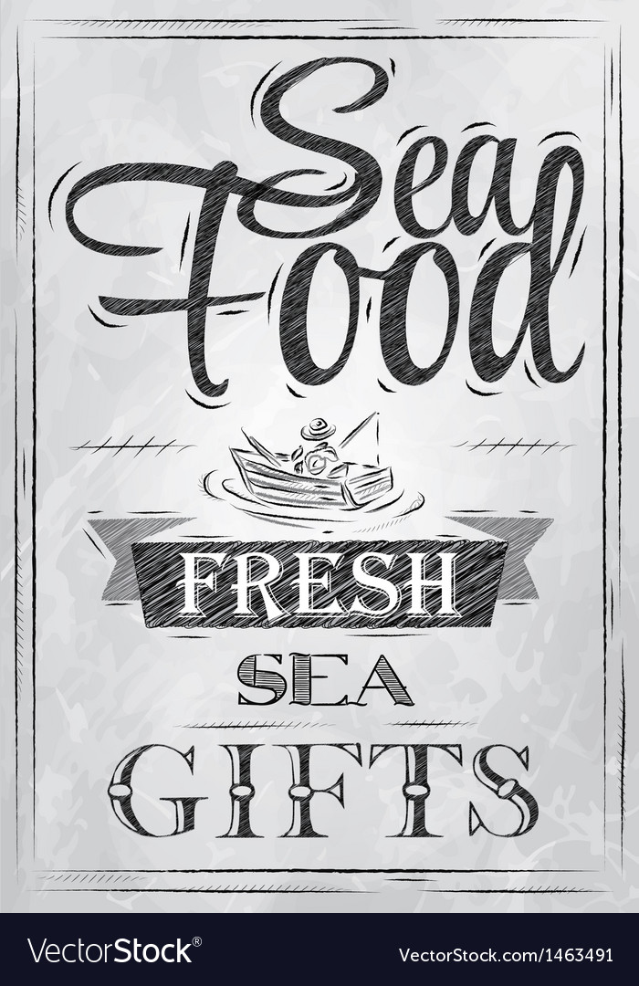 Poster sea food fresh sea gifts charcoal vector | Price: 1 Credit (USD $1)