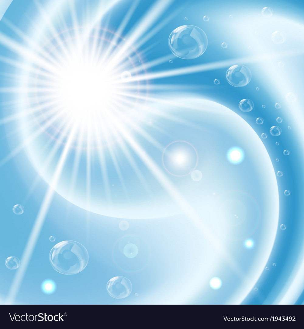 Blue vortex background with bubbles and flare vector | Price: 1 Credit (USD $1)