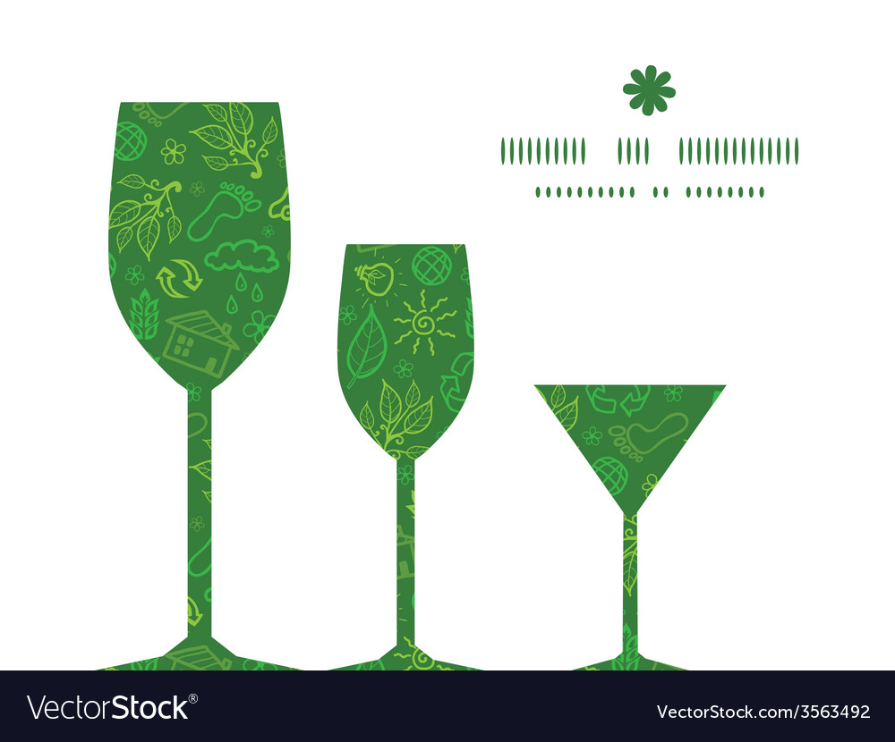 Ecology symbols three wine glasses silhouettes vector | Price: 1 Credit (USD $1)