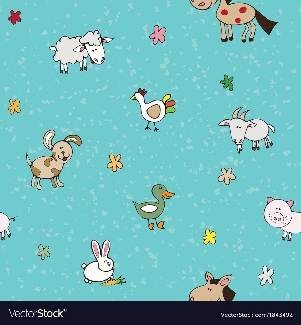 Farm animals and flowers vector | Price: 1 Credit (USD $1)