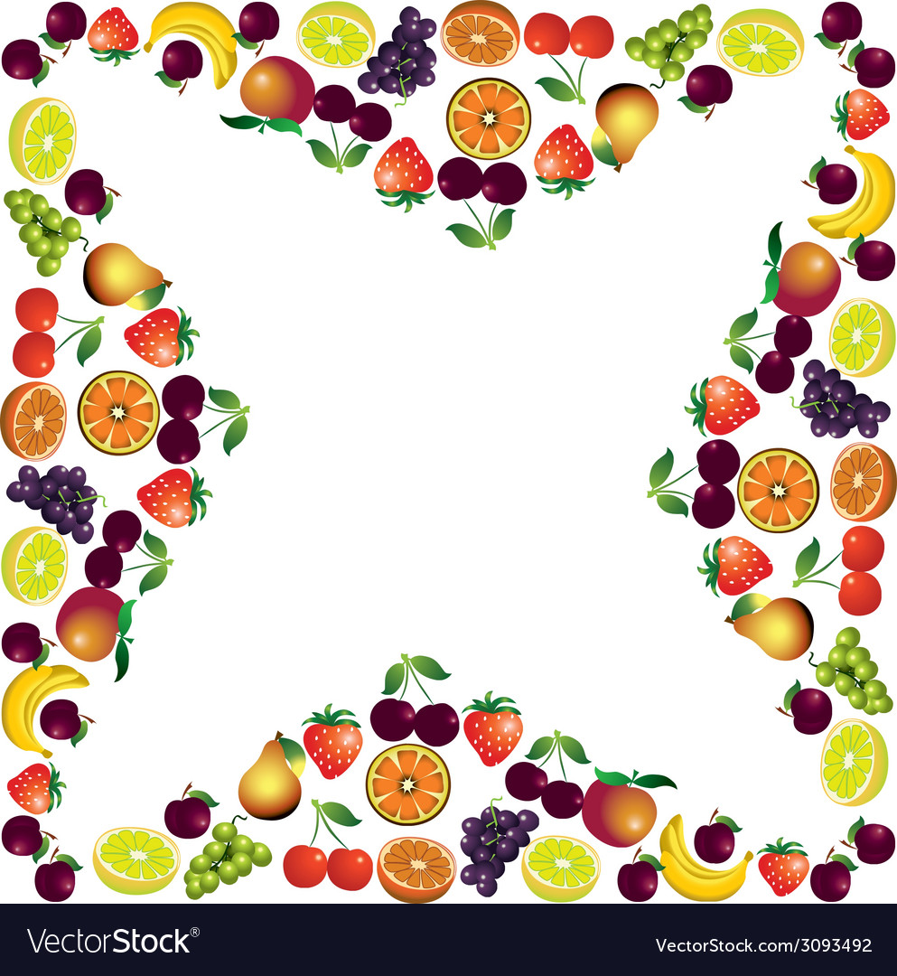 Fruits frame made with different fruits healthy vector   Price: 1 Credit (USD $1)