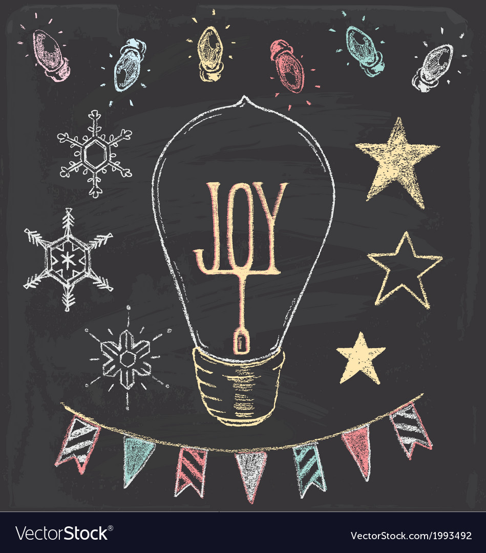 Hand drawn chalk christmas holiday elements set vector | Price: 1 Credit (USD $1)