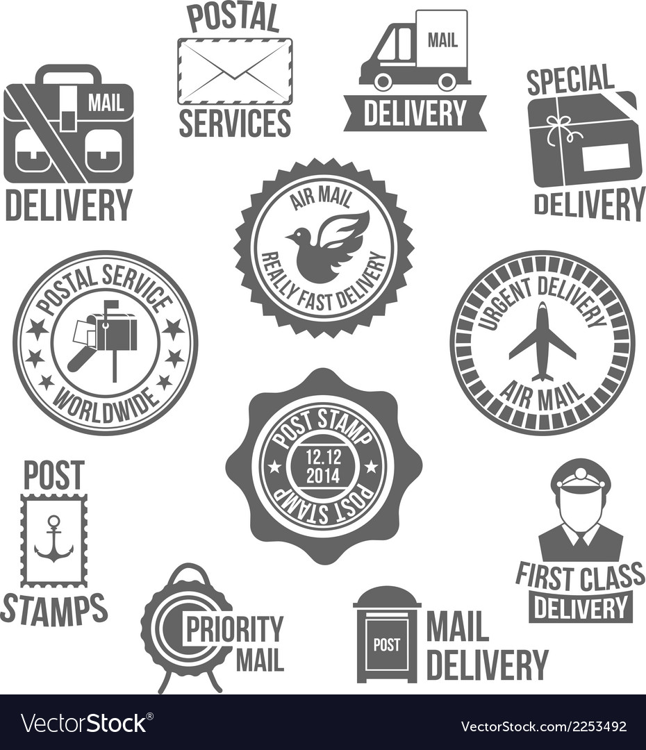 Post service label vector | Price: 1 Credit (USD $1)