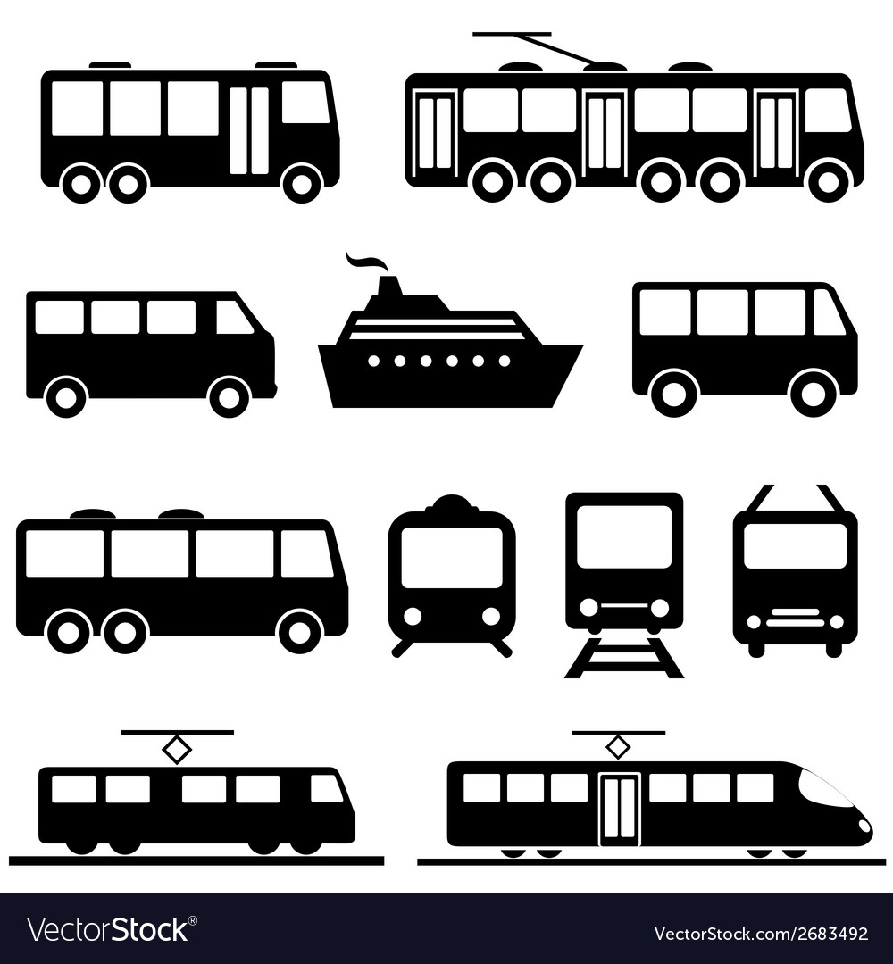 Public transportation icons vector | Price: 1 Credit (USD $1)