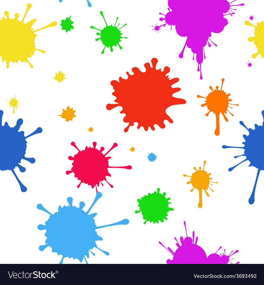 Seamless pattern of colored blots on white vector
