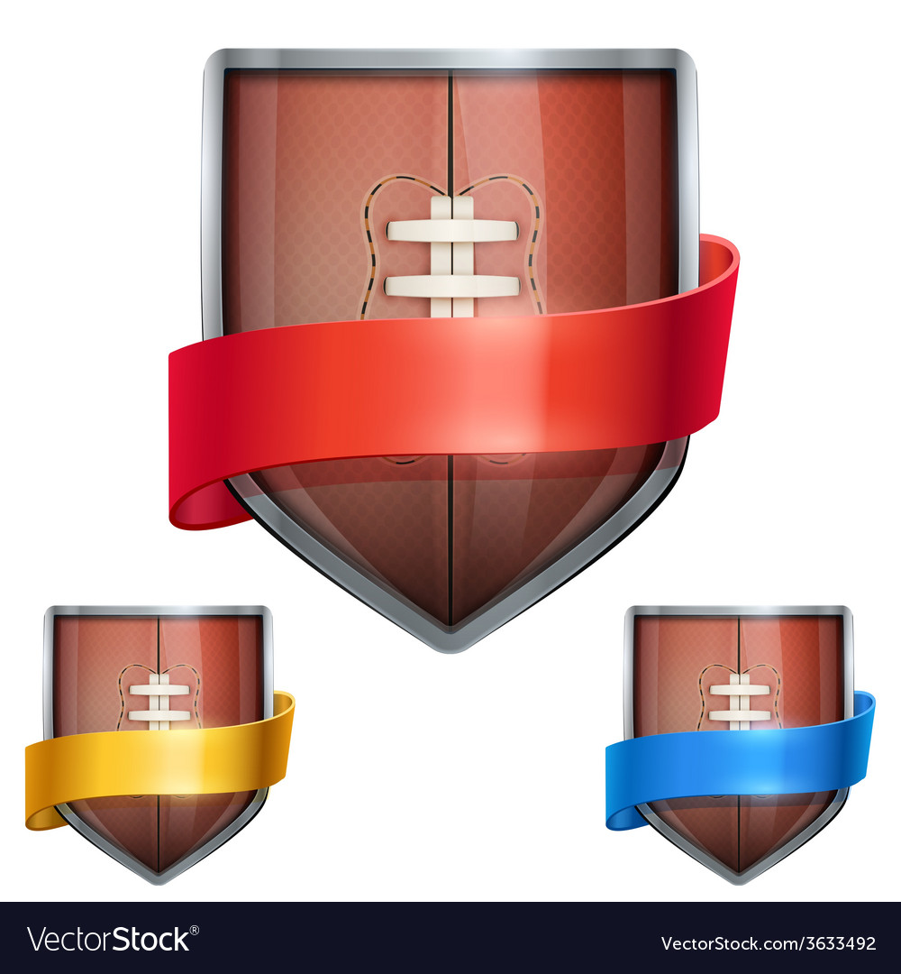 Set of bright shield in the football ball inside vector | Price: 1 Credit (USD $1)