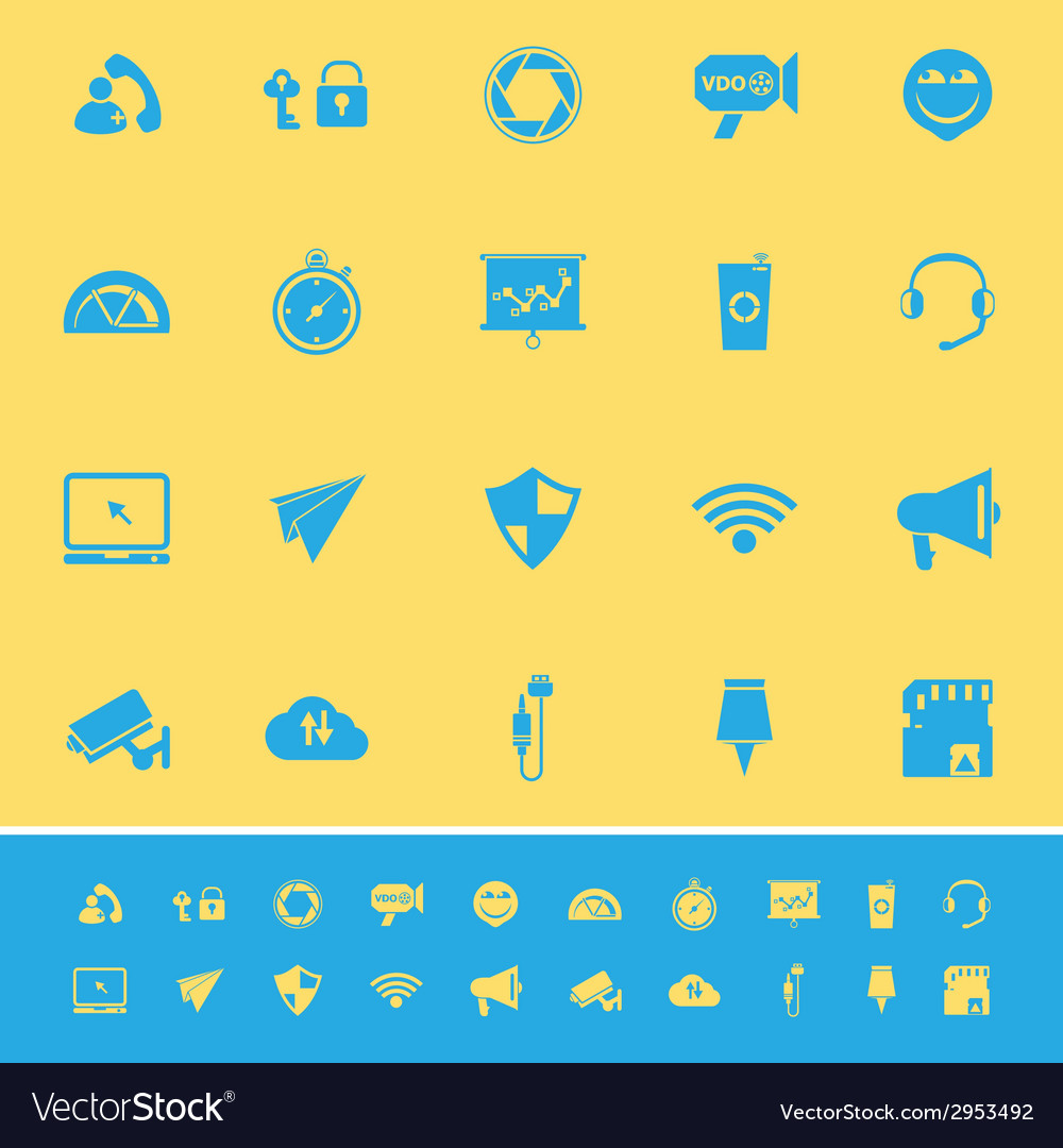 Smart phone screen color icons on yellow vector | Price: 1 Credit (USD $1)