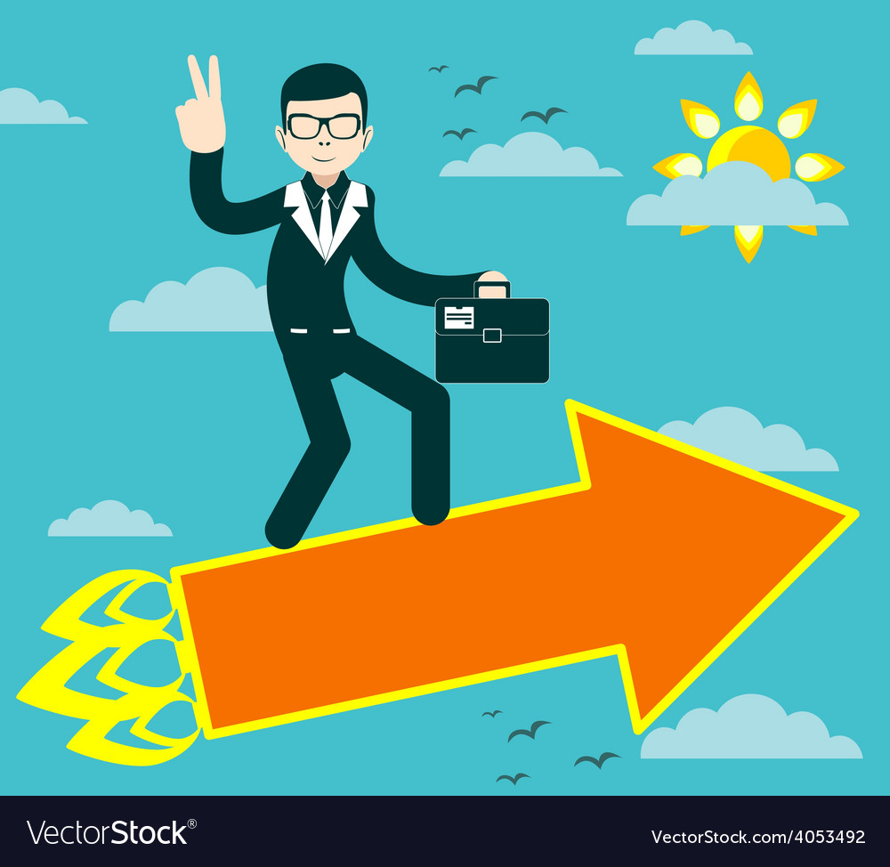 Successful businessman with victory sign flying on vector | Price: 1 Credit (USD $1)