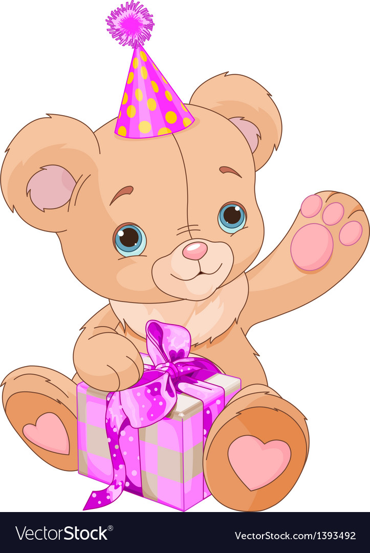 Teddy bear holding gift vector | Price: 3 Credit (USD $3)