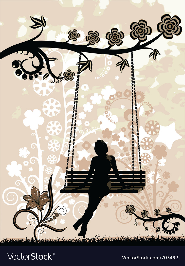 Woman on a swing vector | Price: 1 Credit (USD $1)