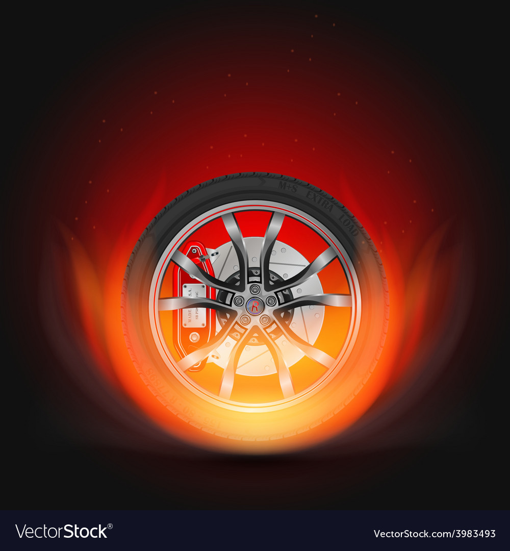 Car wheel on fire vector | Price: 1 Credit (USD $1)