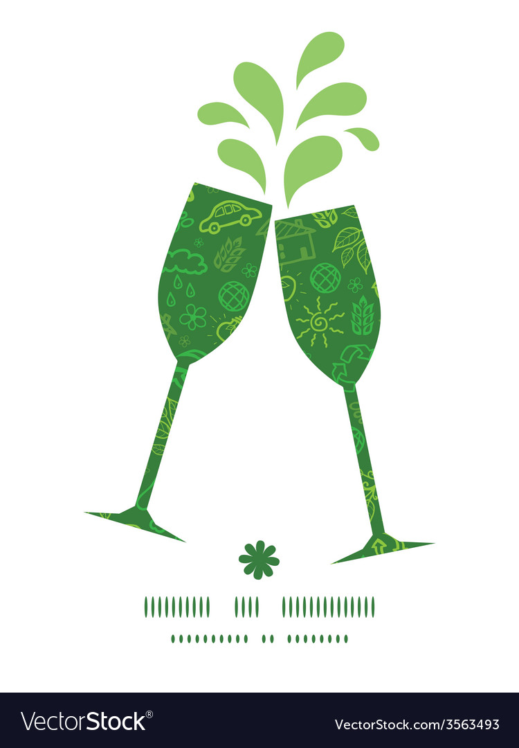 Ecology symbols toasting wine glasses silhouettes vector   Price: 1 Credit (USD $1)