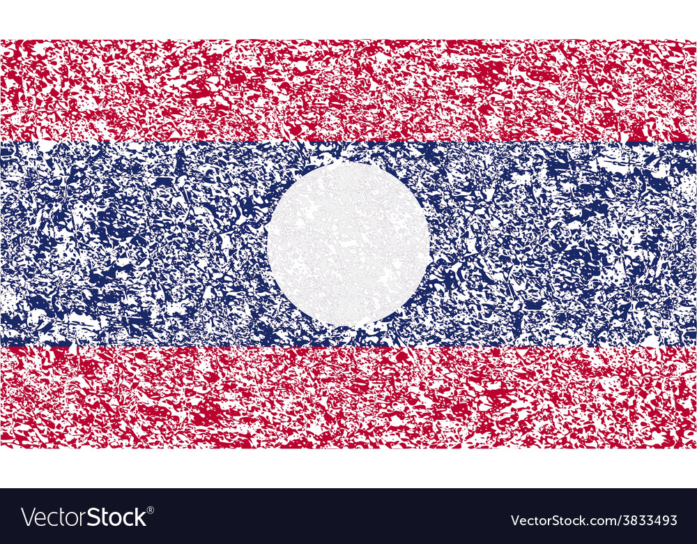 Flag of laos with old texture vector | Price: 1 Credit (USD $1)