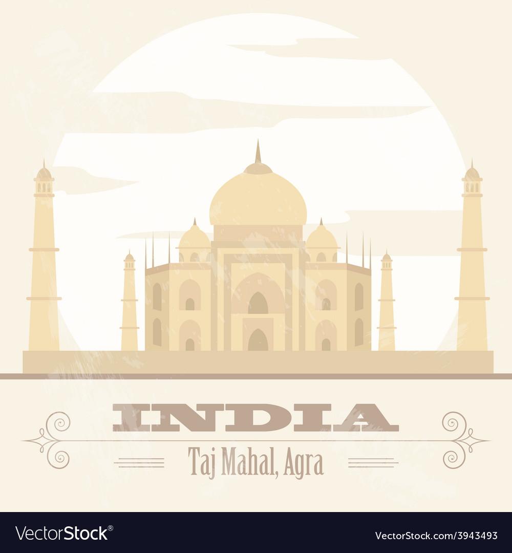 India landmarks retro styled image vector | Price: 1 Credit (USD $1)