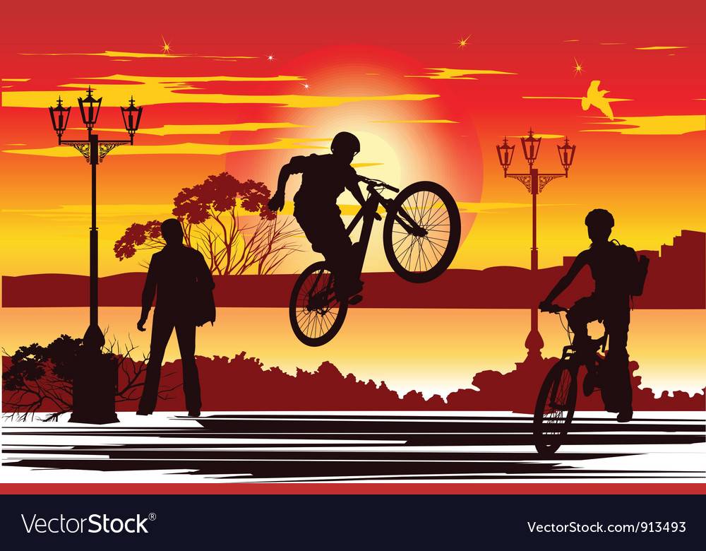 Jump rider at sunset vector | Price: 1 Credit (USD $1)