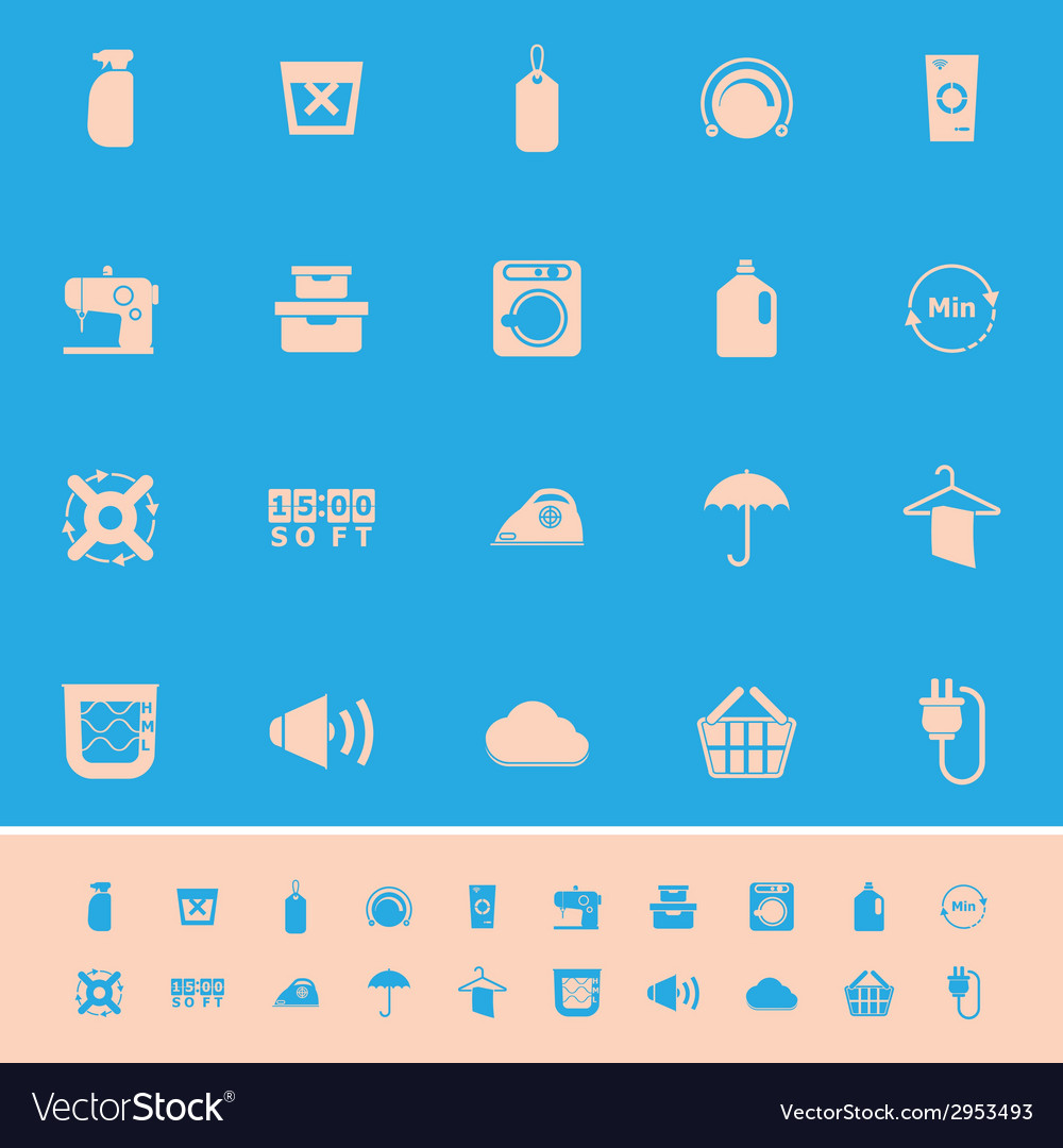 Laundry related color icons on blue background vector | Price: 1 Credit (USD $1)