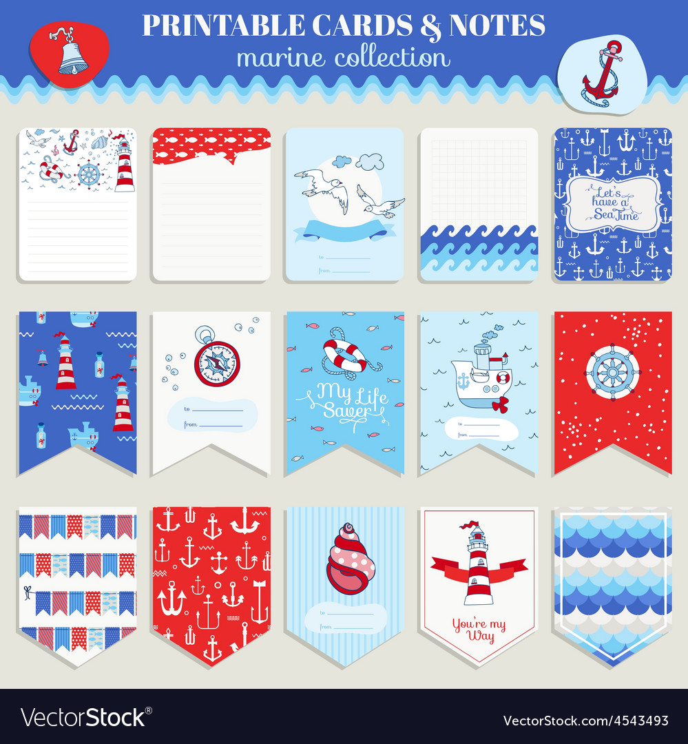 Nautical sea card set vector | Price: 1 Credit (USD $1)