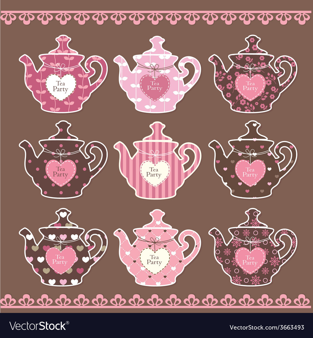 Set of vintage teapots vector