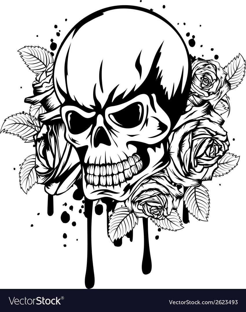 Skull roses vector | Price: 1 Credit (USD $1)