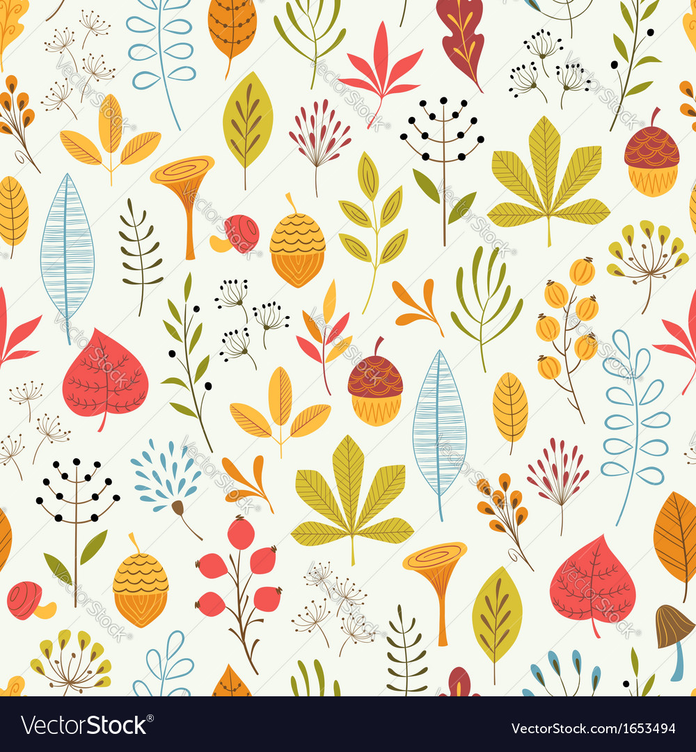 Autumn floral pattern vector | Price: 1 Credit (USD $1)