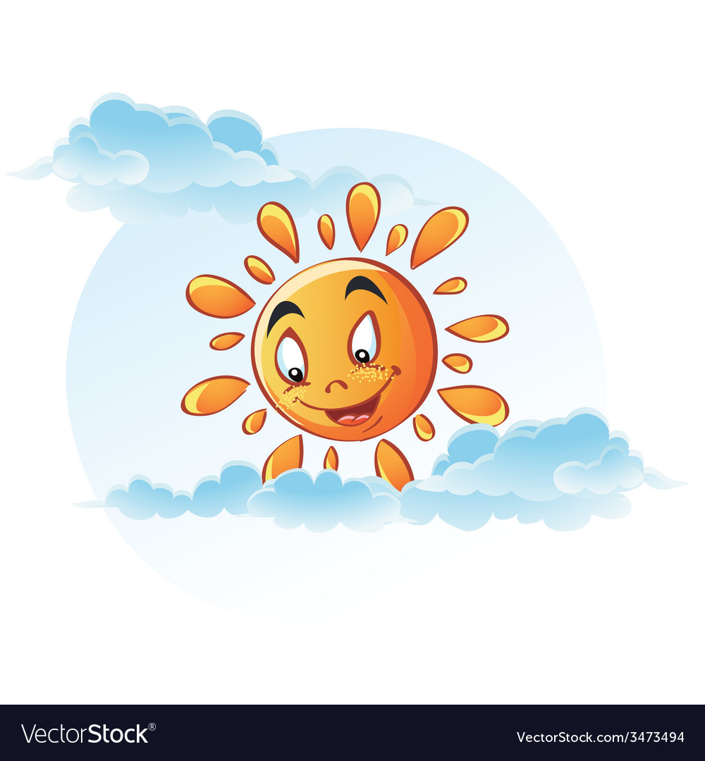 Cartoon image of sun in the clouds vector | Price: 3 Credit (USD $3)