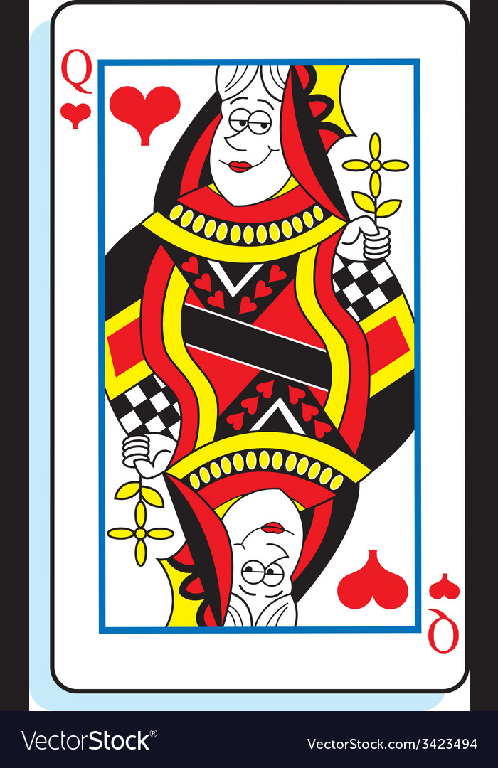 Cartoon queen of hearts playing card vector | Price: 1 Credit (USD $1)