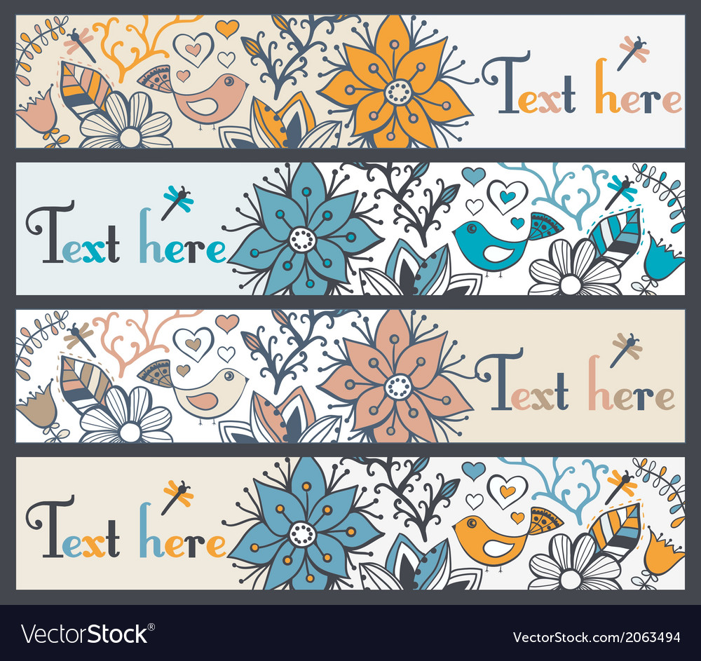 Floral banners stylish floral banners set of four vector | Price: 1 Credit (USD $1)