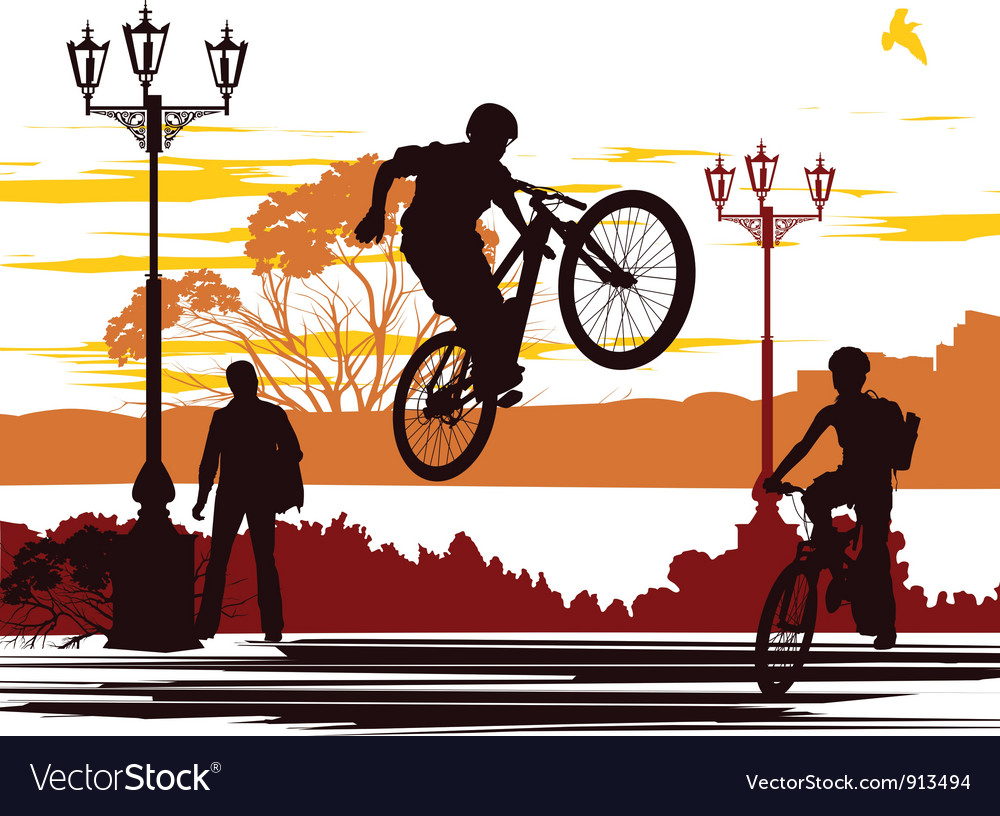 Jump rider silhouettes vector | Price: 1 Credit (USD $1)