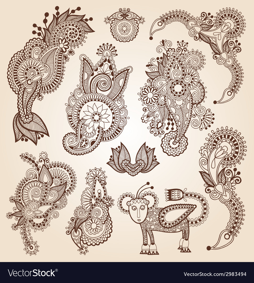 Line art ornate flower design collection ukrainian vector | Price: 1 Credit (USD $1)