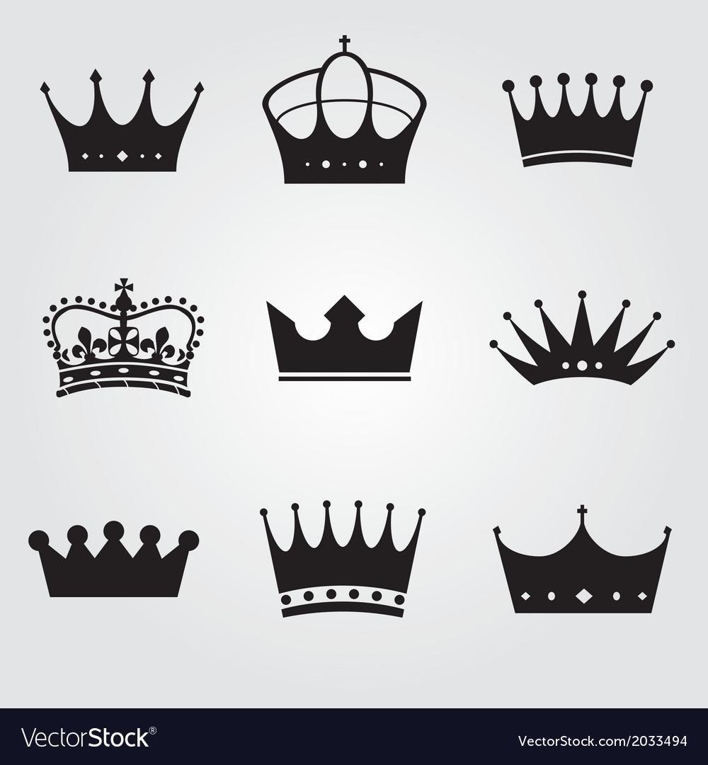 Monochrome vintage antique crowns vector | Price: 1 Credit (USD $1)