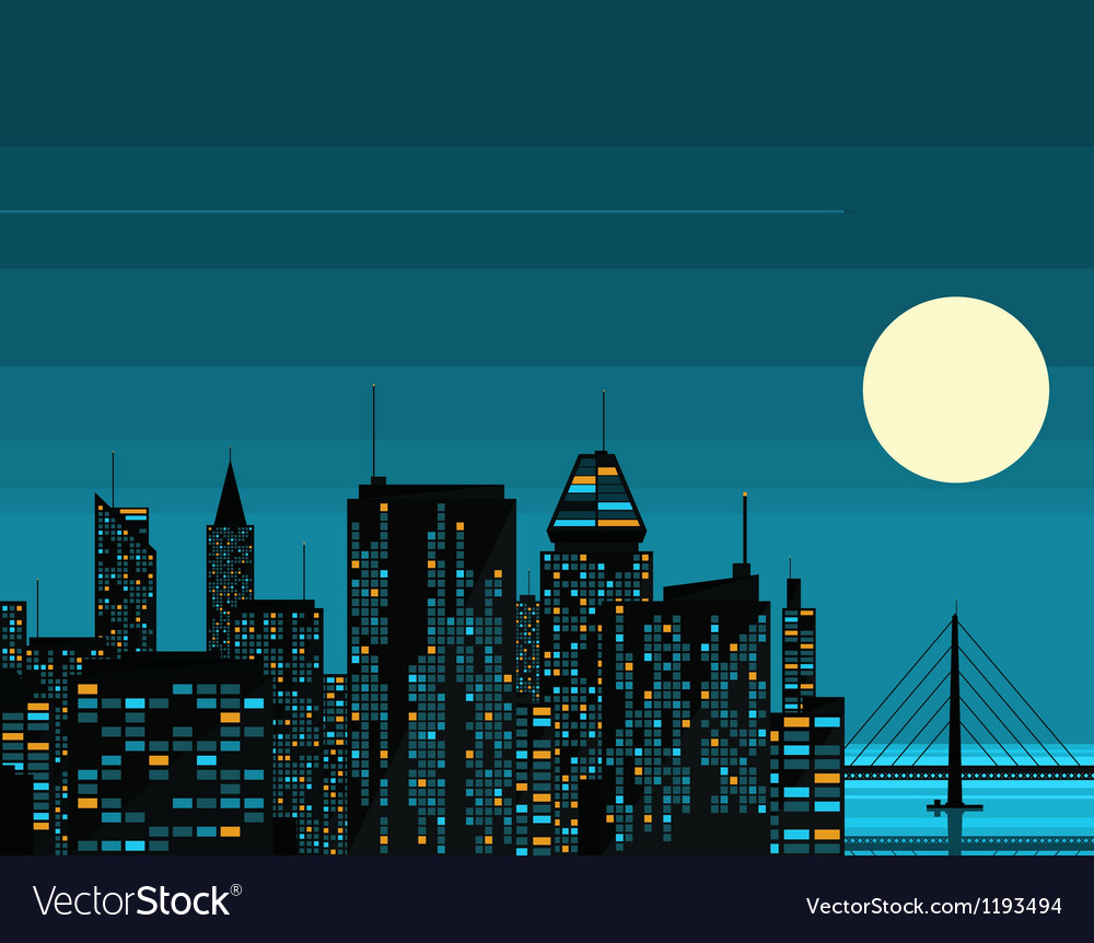 Night futuristic city with big moon vector | Price: 1 Credit (USD $1)