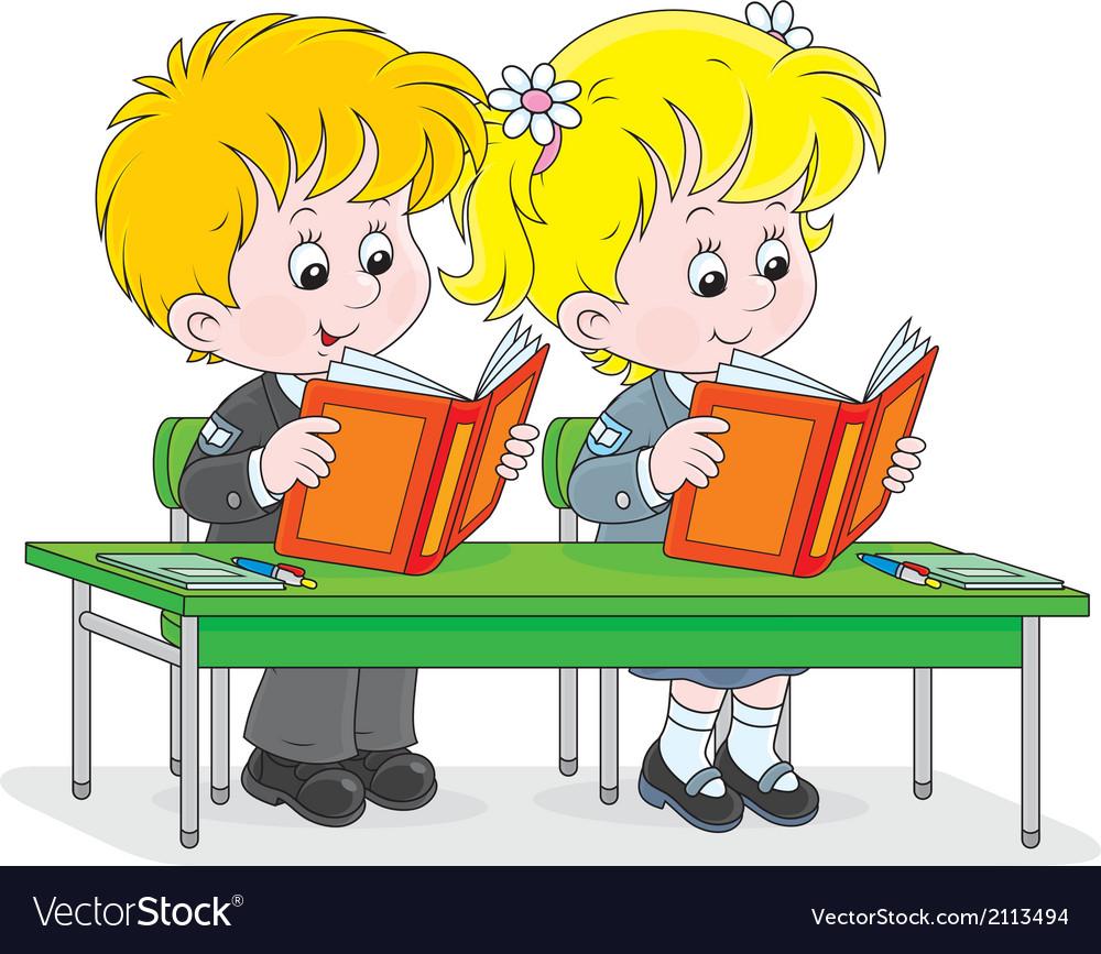 Schoolchildren read at a lesson vector | Price: 1 Credit (USD $1)