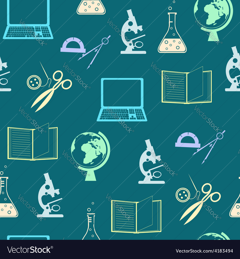 Seamless background with education objects vector | Price: 1 Credit (USD $1)