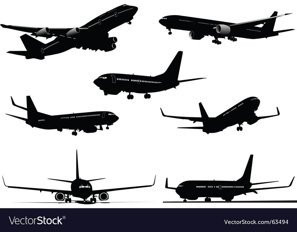 Seven plane silhouettes vector | Price: 1 Credit (USD $1)