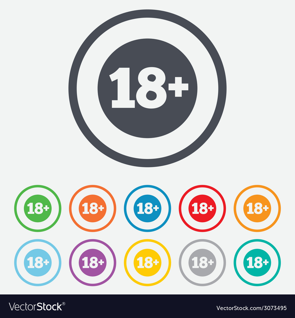 18 years old sign adults content vector | Price: 1 Credit (USD $1)