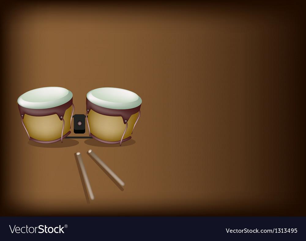 Beautiful bongo drum on dark brown background vector | Price: 1 Credit (USD $1)