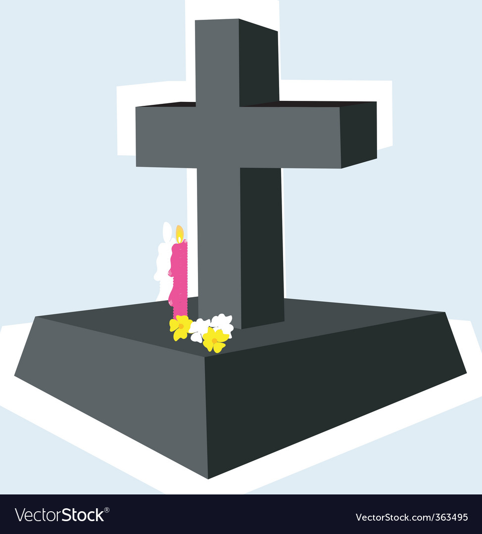 Cross with candle vector | Price: 1 Credit (USD $1)