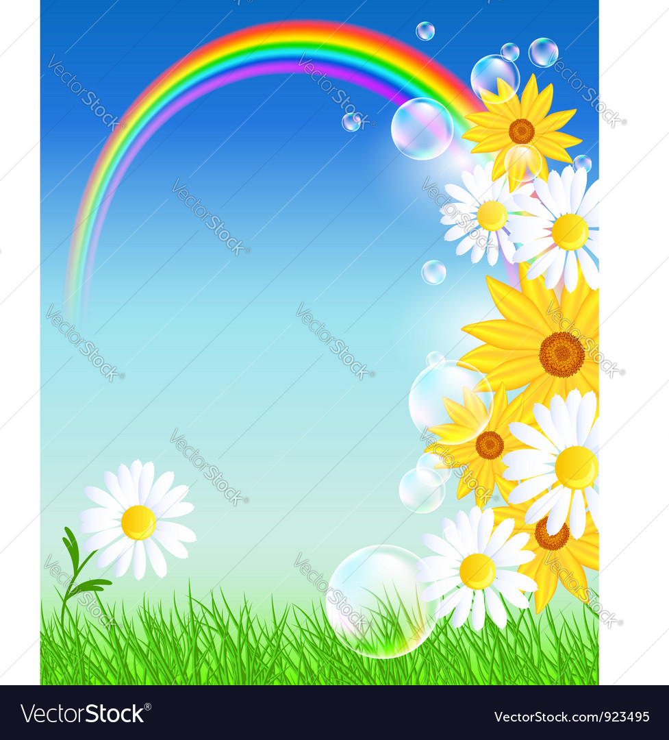 Flowers and rainbow vector | Price: 1 Credit (USD $1)