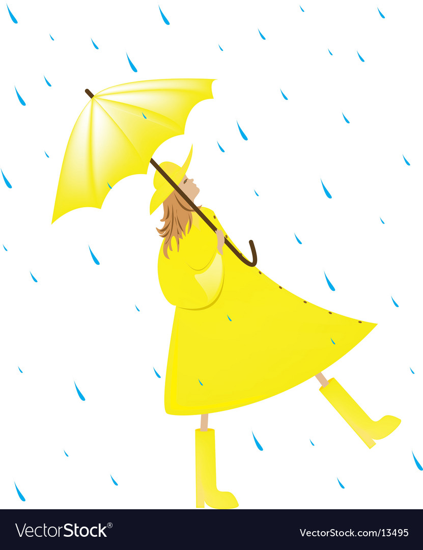 Girl in the rain vector | Price: 1 Credit (USD $1)