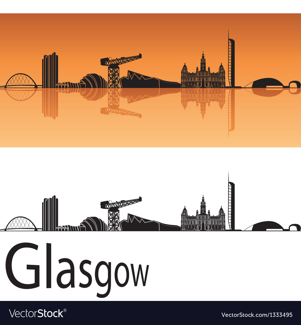 Glasgow skyline in orange background vector | Price: 1 Credit (USD $1)