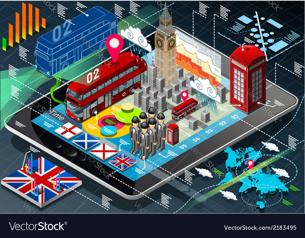 Isometric infographic of great britain on tablet vector | Price: 1 Credit (USD $1)